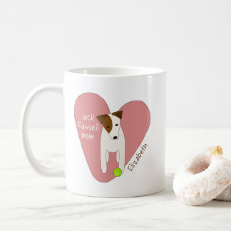 whimsical Jack Russell mum pink heart tennis ball Coffee Mug