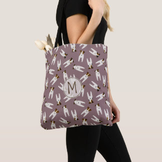 Whimsical Jack Russell Terrier pattern  light plum Tote Bag