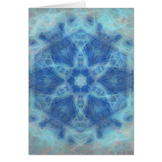 Whimsical kaleidoscope in blue greeting card