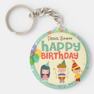 Whimsical Kids Illustration Happy Birthday Party Basic Round Button Key Ring
