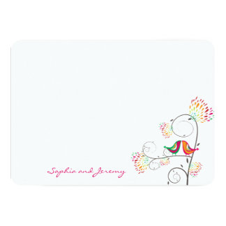 Whimsical Kissing Summer Love Birds Thank You Card