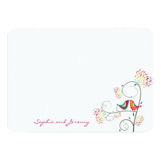 Whimsical Kissing Summer Love Birds Thank You Card 13 Cm X 18 Cm Invitation Card