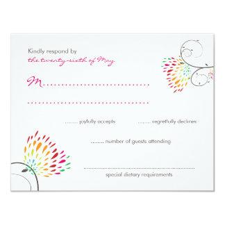 Whimsical Kissing Summer Love Birds Wedding RSVP 11 Cm X 14 Cm Invitation Card
