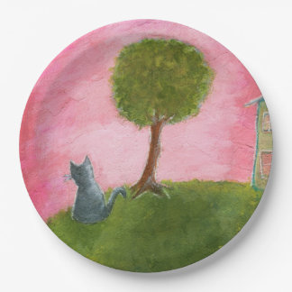 Whimsical Kitty Cat Folk Art Painting Pink Sky Paper Plate