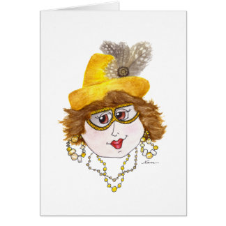 Whimsical Lady on a Seafood Diet Card