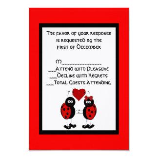 Whimsical Ladybug Wedding RSVP Card 9 Cm X 13 Cm Invitation Card