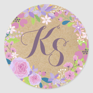 Whimsical Lavender Floral Kraft Paper Monogram Round Sticker