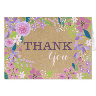 Whimsical Lavender Floral Kraft Paper Thank You Card