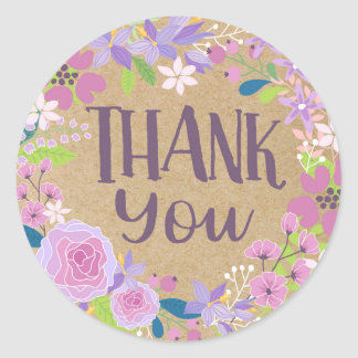 Whimsical Lavender Floral Kraft Paper Thank You Round Sticker