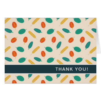 Whimsical Leaf Pattern Folded Thank You Cards