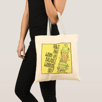 Whimsical Leaning Stack of Pastel Coffee Cups Tote Bag