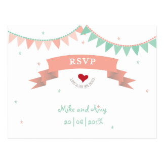 Whimsical Lib Bunting Wedding RSVP Postcard