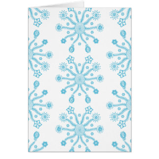 Whimsical Light Blue Flowery Doodle Pattern Card