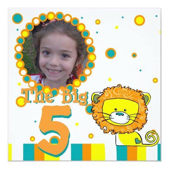 Whimsical Lion Birthday Photo Card