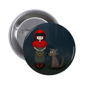 Whimsical Little Red Riding Hood Girl and Wolf Buttons