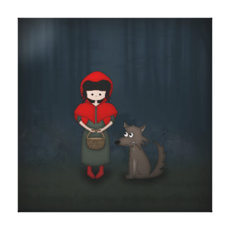Whimsical Little Red Riding Hood Girl and Wolf Gallery Wrapped Canvas
