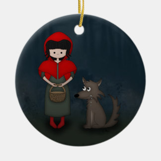 Whimsical Little Red Riding Hood Girl and Wolf Round Ceramic Decoration