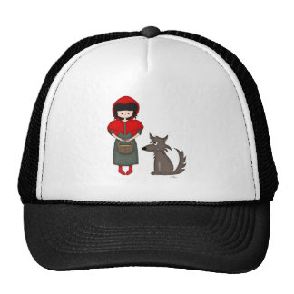 Whimsical Little Red Riding Hood Girl and Wolf Mesh Hats