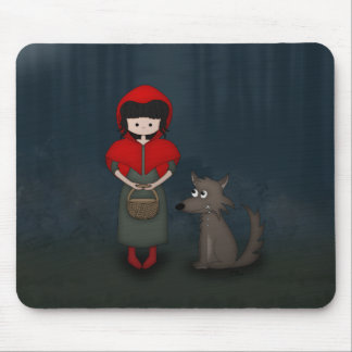 Whimsical Little Red Riding Hood Girl and Wolf Mouse Pad