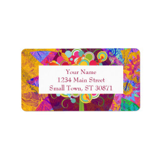 Whimsical Lollipop Candy Tree Colorful Abstract Address Label