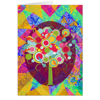 Whimsical Lollipop Candy Tree Colorful Abstract Un Card