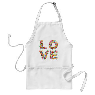 Whimsical LOVE Spring Flowers Wedding Bridal Apron