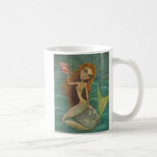 Whimsical Mermaid and Shell Ocean Themed Mug