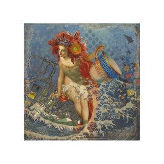 Whimsical Mermaid Blue Aquarius Collage Fantasy Wood Canvas