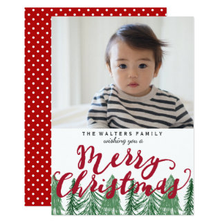 Whimsical Merry Christmas Pine Trees Holiday Photo Card