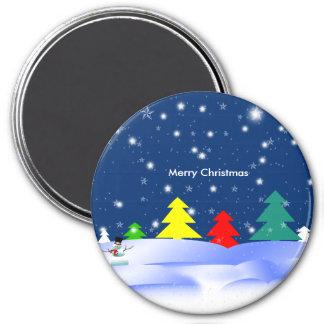 Whimsical Merry Christmas Trees Magnet