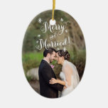 Whimsical Merry & Married First Christmas Photo Ceramic Oval Decoration