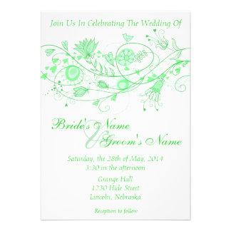Whimsical Minty Green Wedding Invite B