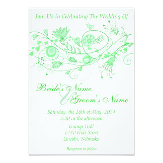 "Whimsical Minty Green Wedding Invite B 5"" X 7"" Invitation Card"