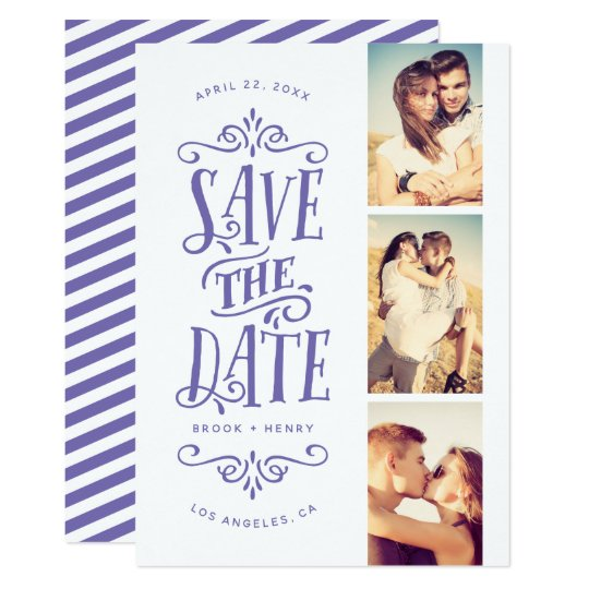 Whimsical Mod 3-Photo Save The Date | Periwinkle Card