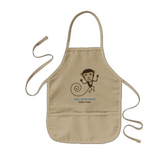 Whimsical Monkey Big Brother Kids Apron