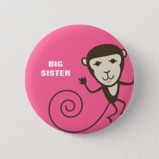 Whimsical Monkey Big Sister 6 Cm Round Badge