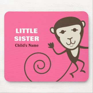 Whimsical Monkey Little Sister Mouse Pads