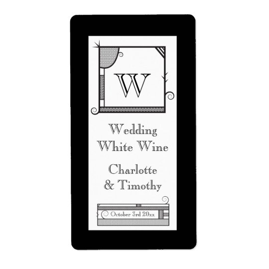 Whimsical Monogram Black and White Wine Label Shipping Label