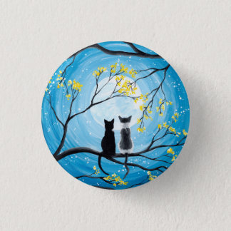 Whimsical Moon with Cats 3 Cm Round Badge