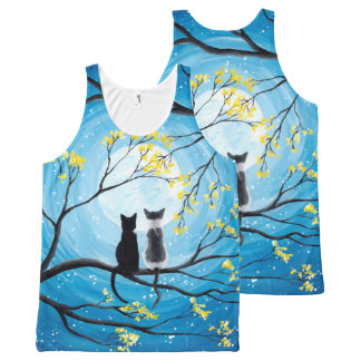 Whimsical Moon with Cats All-Over Print Singlet
