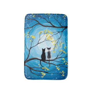 Whimsical Moon with Cats Bath Mat