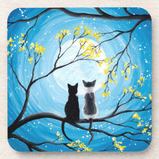 Whimsical Moon with Cats Coaster