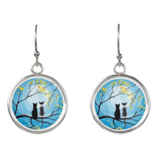 Whimsical Moon with Cats Earrings