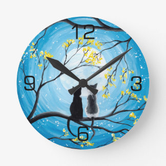 Whimsical Moon with Cats Round Clock