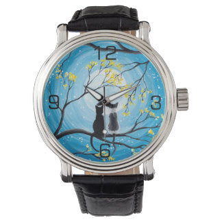 Whimsical Moon with Cats Watch