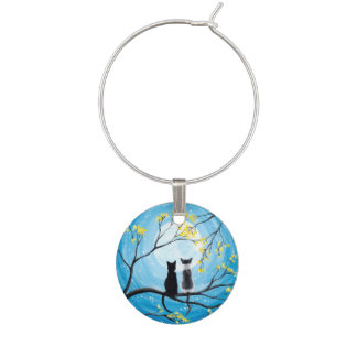 Whimsical Moon with Cats Wine Glass Charm