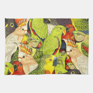 Whimsical Nature Green Parrots Birds Pattern Hand Towels