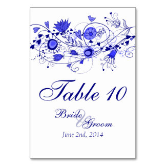 Whimsical Navy Blue Table Card 1