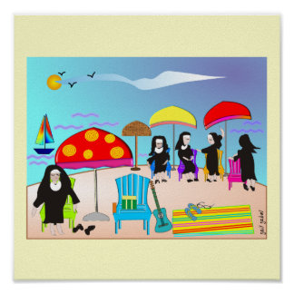 "Whimsical Nuns ""At The Beach"" Art Poster"