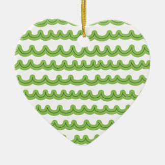 Whimsical Ocean Waves Green Ceramic Heart Decoration